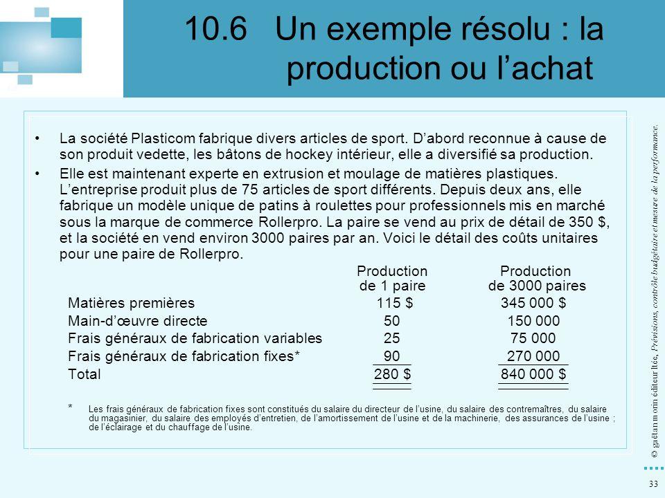 33 © gaëtan morin éditeur ltée, Prévisions, contrôle budgétaire et mesure de la performance. La société Plasticom fabrique divers articles de sport. D