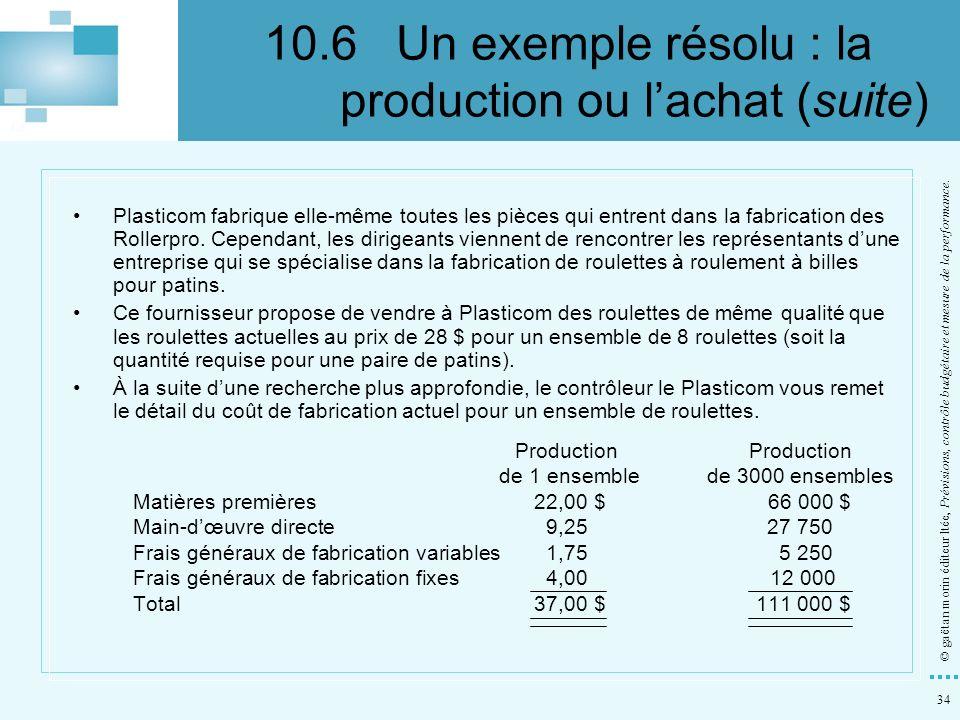 34 © gaëtan morin éditeur ltée, Prévisions, contrôle budgétaire et mesure de la performance. Plasticom fabrique elle-même toutes les pièces qui entren