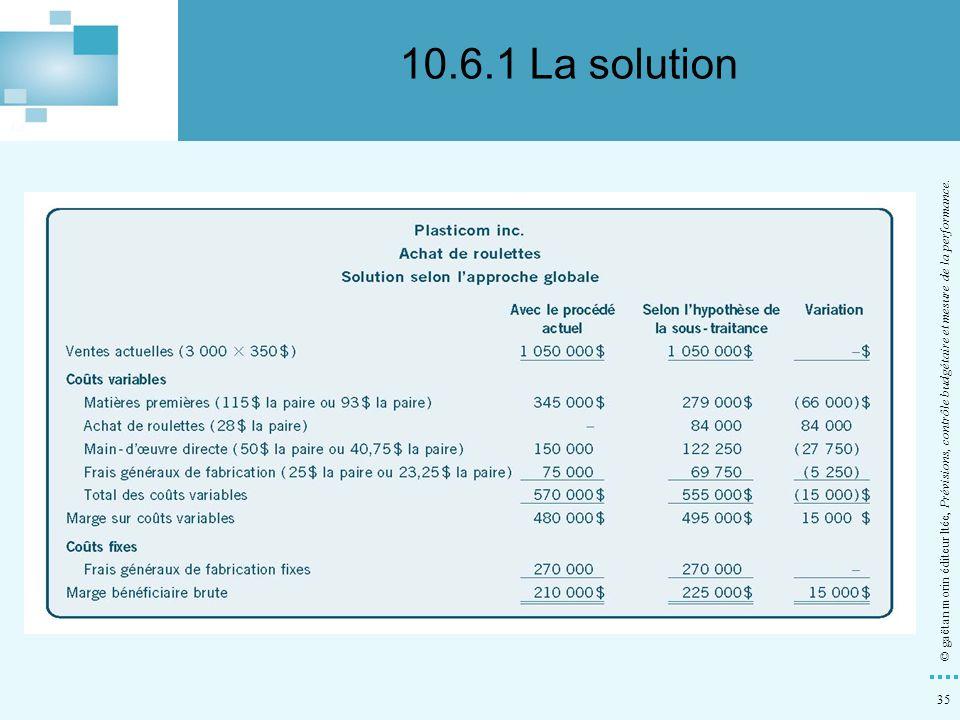 35 © gaëtan morin éditeur ltée, Prévisions, contrôle budgétaire et mesure de la performance. 10.6.1 La solution