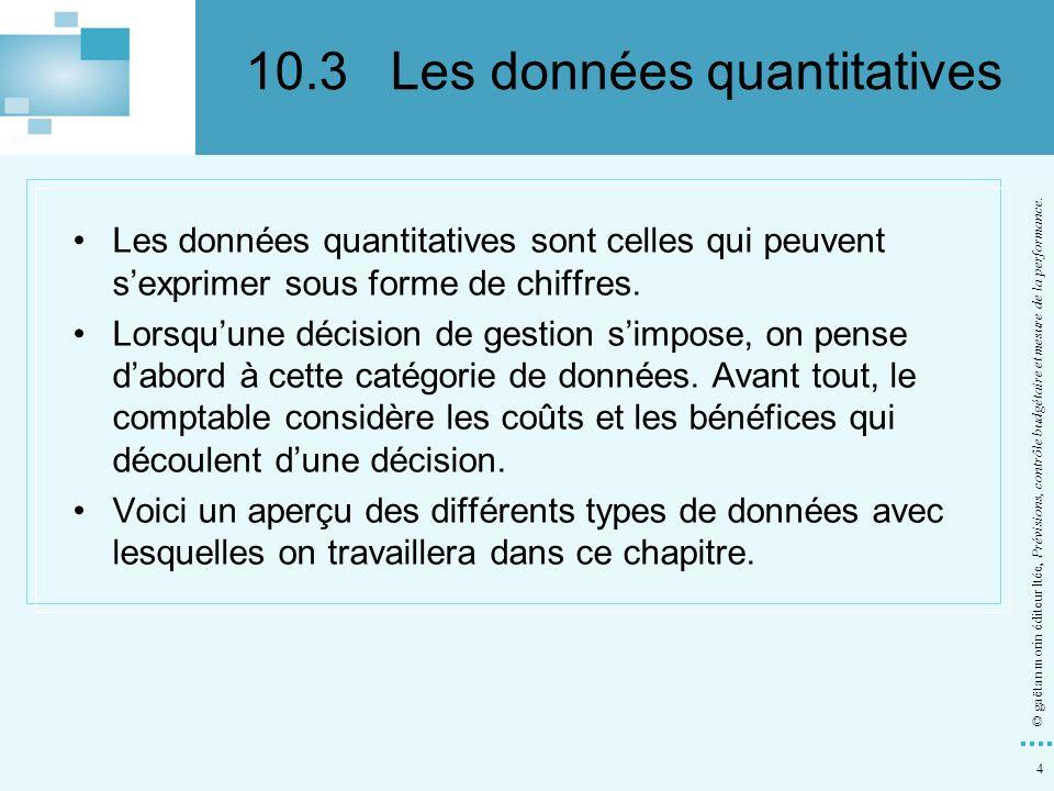 4 © gaëtan morin éditeur ltée, Prévisions, contrôle budgétaire et mesure de la performance. Les données quantitatives sont celles qui peuvent sexprime