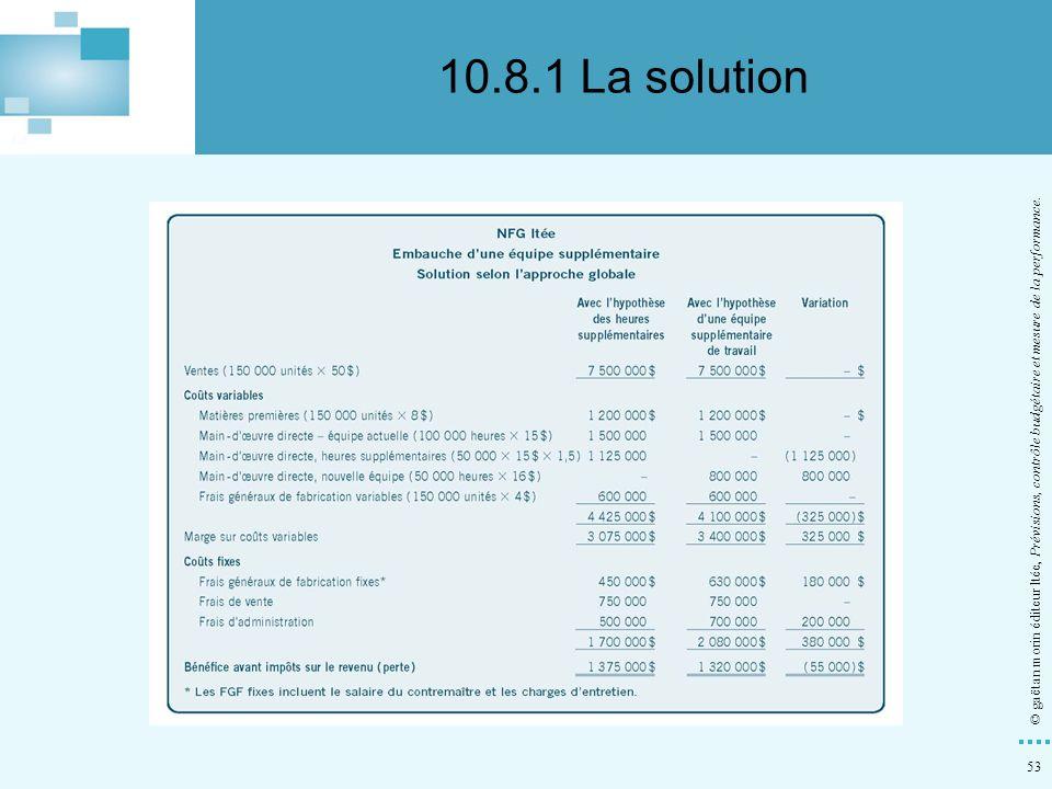 53 © gaëtan morin éditeur ltée, Prévisions, contrôle budgétaire et mesure de la performance. 10.8.1 La solution