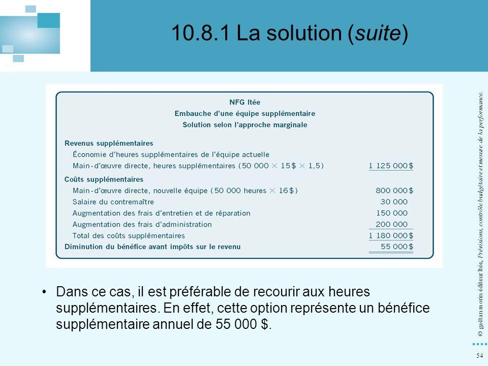 54 © gaëtan morin éditeur ltée, Prévisions, contrôle budgétaire et mesure de la performance. Dans ce cas, il est préférable de recourir aux heures sup