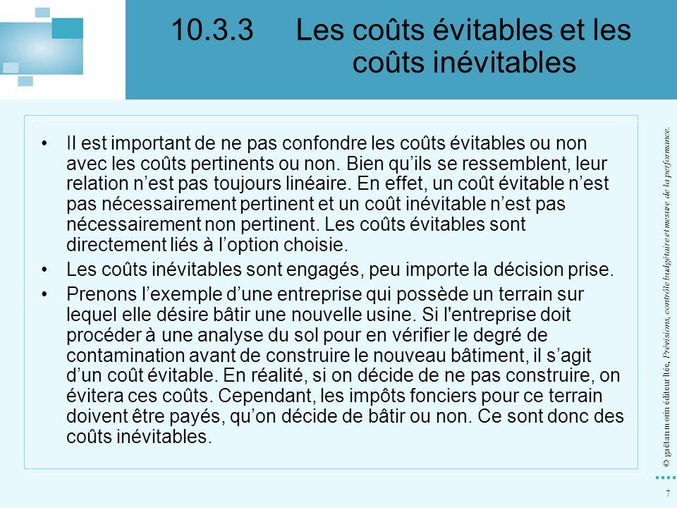 28 © gaëtan morin éditeur ltée, Prévisions, contrôle budgétaire et mesure de la performance.