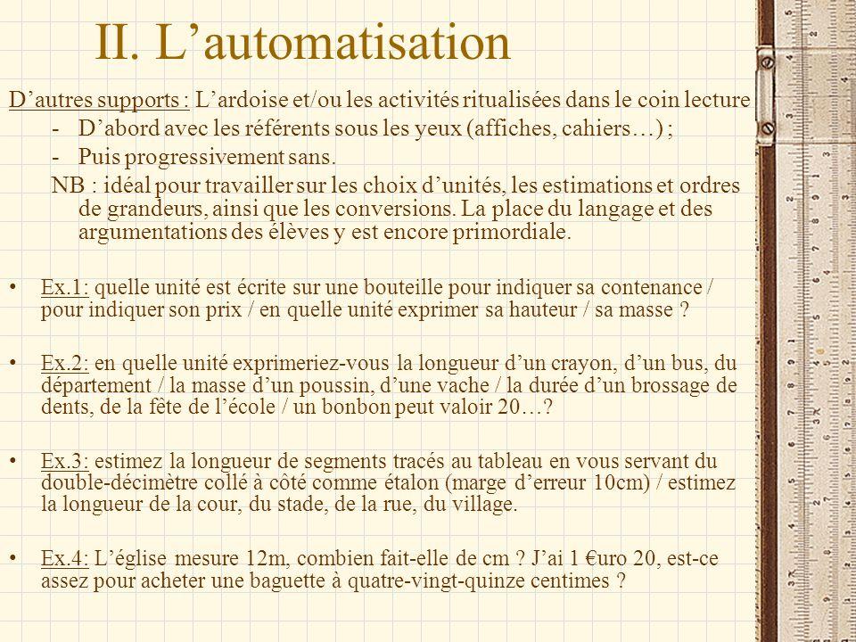 II. Lautomatisation Dautres supports : Lardoise et/ou les activités ritualisées dans le coin lecture -Dabord avec les référents sous les yeux (affiche