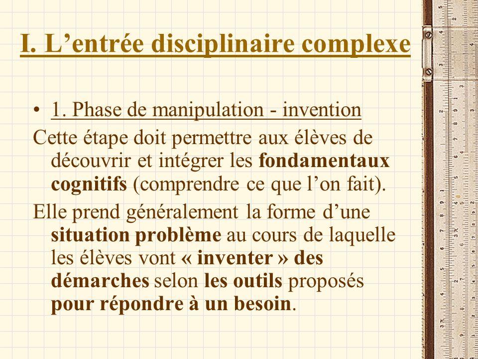 I. Lentrée disciplinaire complexe 1. Phase de manipulation - invention Cette étape doit permettre aux élèves de découvrir et intégrer les fondamentaux