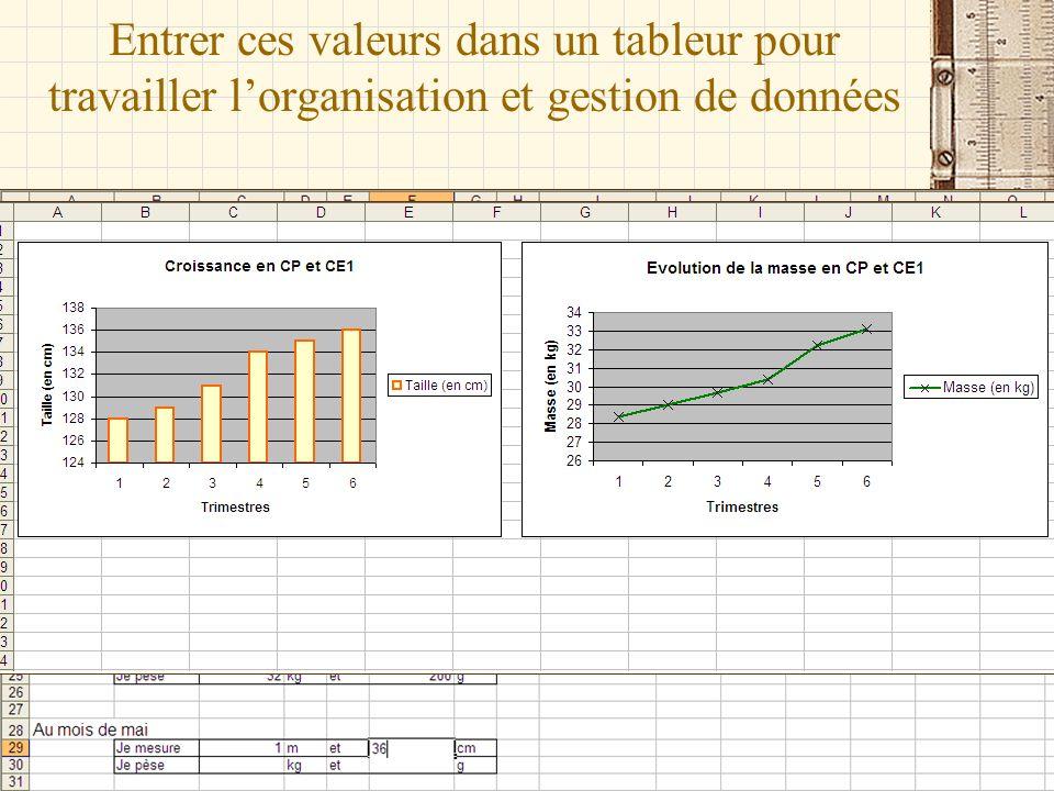 Entrer ces valeurs dans un tableur pour travailler lorganisation et gestion de données