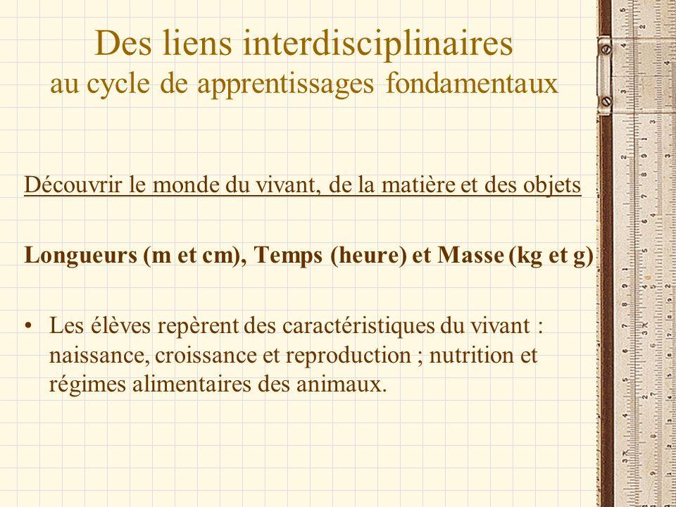 Des liens interdisciplinaires au cycle de apprentissages fondamentaux Découvrir le monde du vivant, de la matière et des objets Longueurs (m et cm), T