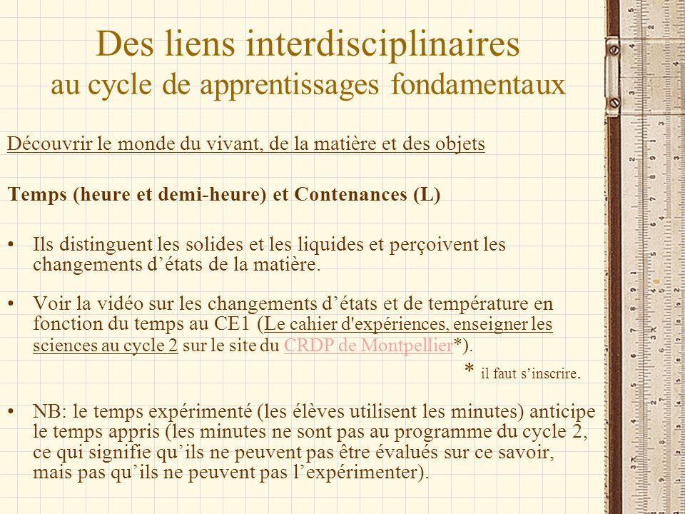 Des liens interdisciplinaires au cycle de apprentissages fondamentaux Découvrir le monde du vivant, de la matière et des objets Temps (heure et demi-h