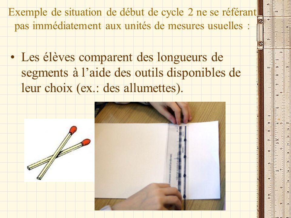 Exemple de situation de début de cycle 2 ne se référant pas immédiatement aux unités de mesures usuelles : Les élèves comparent des longueurs de segme