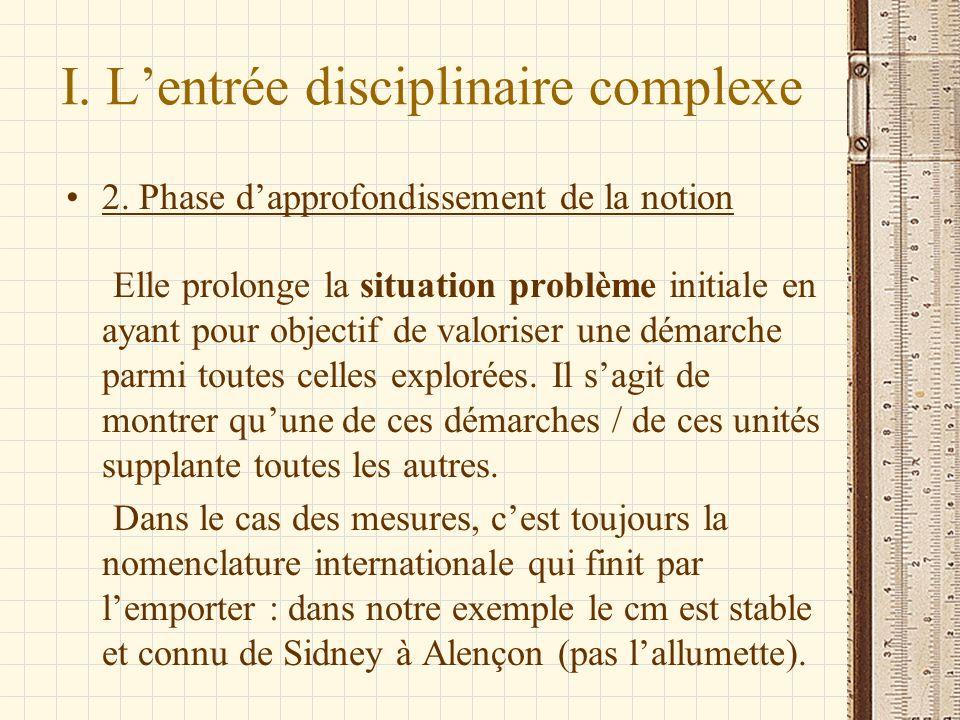 I. Lentrée disciplinaire complexe 2. Phase dapprofondissement de la notion Elle prolonge la situation problème initiale en ayant pour objectif de valo