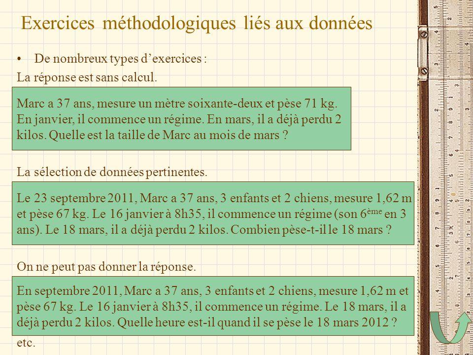 Exercices méthodologiques liés aux données De nombreux types dexercices : La réponse est sans calcul. La sélection de données pertinentes. On ne peut