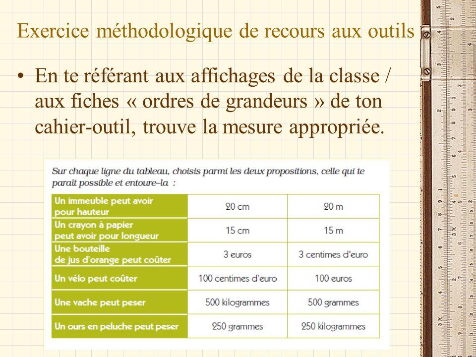 Exercice méthodologique de recours aux outils En te référant aux affichages de la classe / aux fiches « ordres de grandeurs » de ton cahier-outil, tro