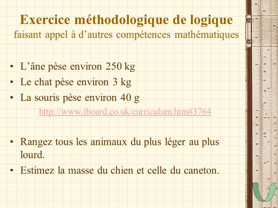 Exercice méthodologique de logique faisant appel à dautres compétences mathématiques Lâne pèse environ 250 kg Le chat pèse environ 3 kg La souris pèse