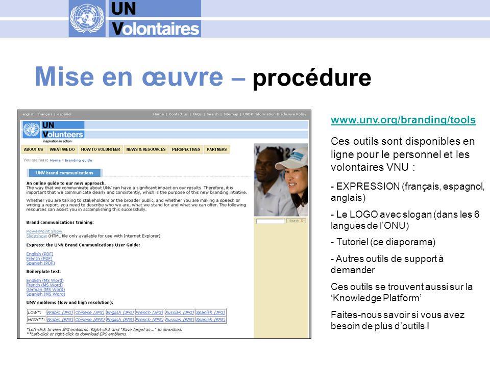 Le forum sur la communication http://branding.UNV.org Questions Suggestions Exemples Idées