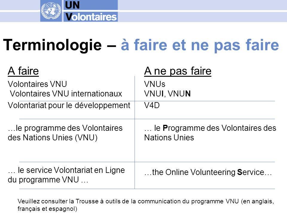 Terminologie – à faire et ne pas faire A faire Volontaires VNU Volontaires VNU internationaux Volontariat pour le développement …le programme des Volo
