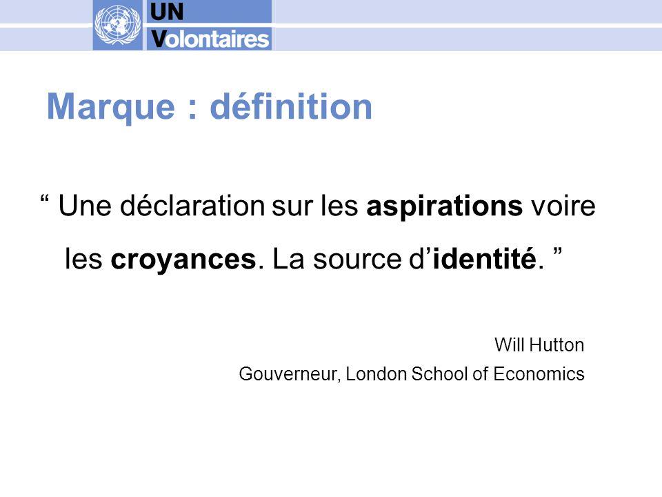 Marque : définition Une déclaration sur les aspirations voire les croyances. La source didentité. Will Hutton Gouverneur, London School of Economics