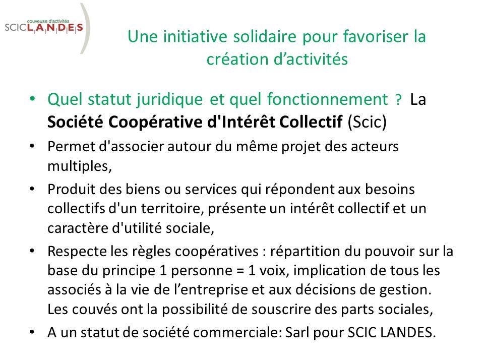 Une initiative solidaire pour favoriser la création dactivités Quel statut juridique et quel fonctionnement .