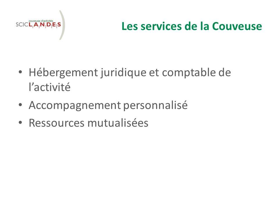 Les services de la Couveuse Hébergement juridique et comptable de lactivité Accompagnement personnalisé Ressources mutualisées