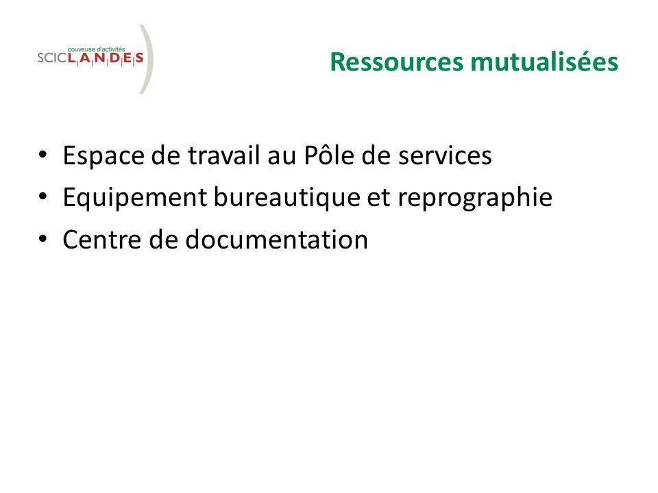 Ressources mutualisées Espace de travail au Pôle de services Equipement bureautique et reprographie Centre de documentation