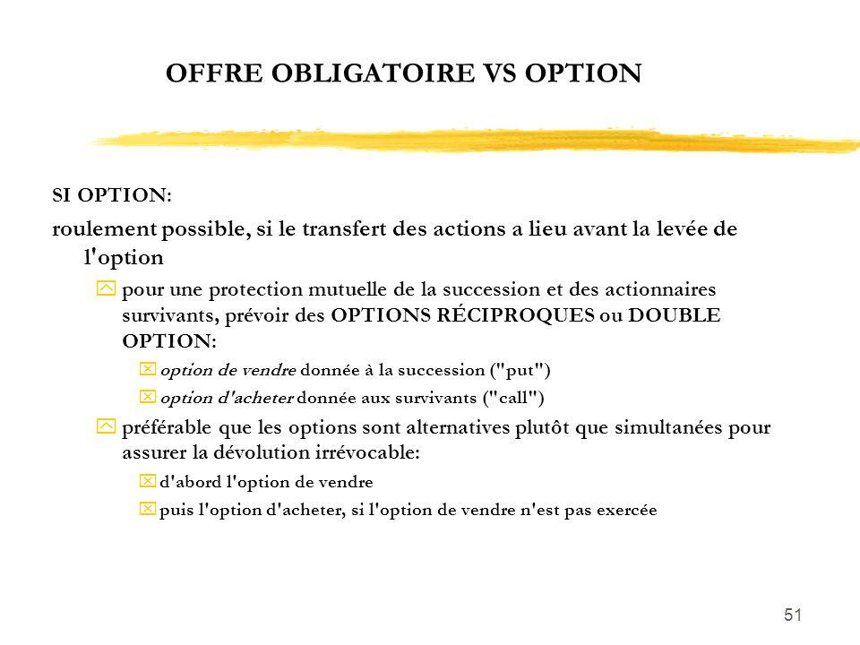 51 OFFRE OBLIGATOIRE VS OPTION SI OPTION: roulement possible, si le transfert des actions a lieu avant la levée de l'option ypour une protection mutue