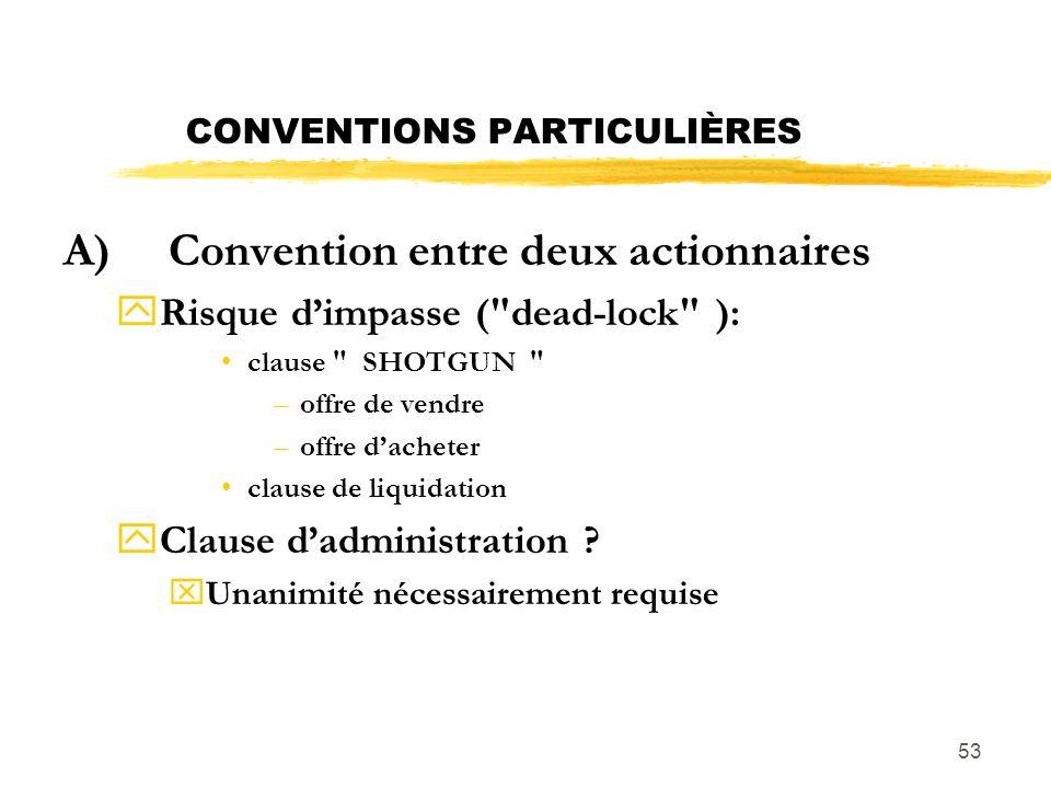 53 CONVENTIONS PARTICULIÈRES A)Convention entre deux actionnaires yRisque dimpasse (