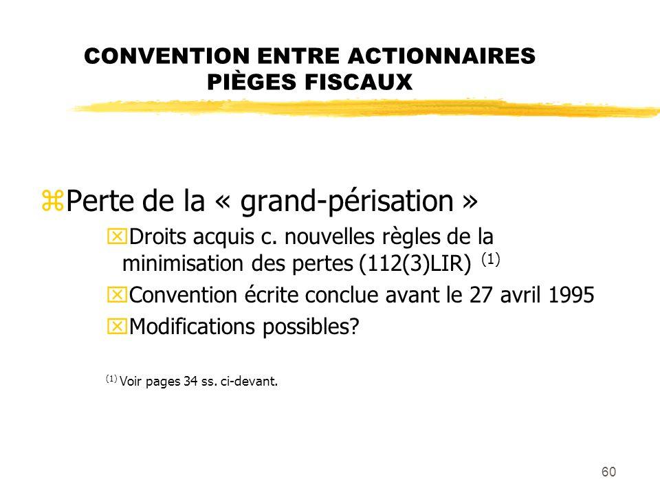 60 CONVENTION ENTRE ACTIONNAIRES PIÈGES FISCAUX zPerte de la « grand-périsation » xDroits acquis c. nouvelles règles de la minimisation des pertes (11
