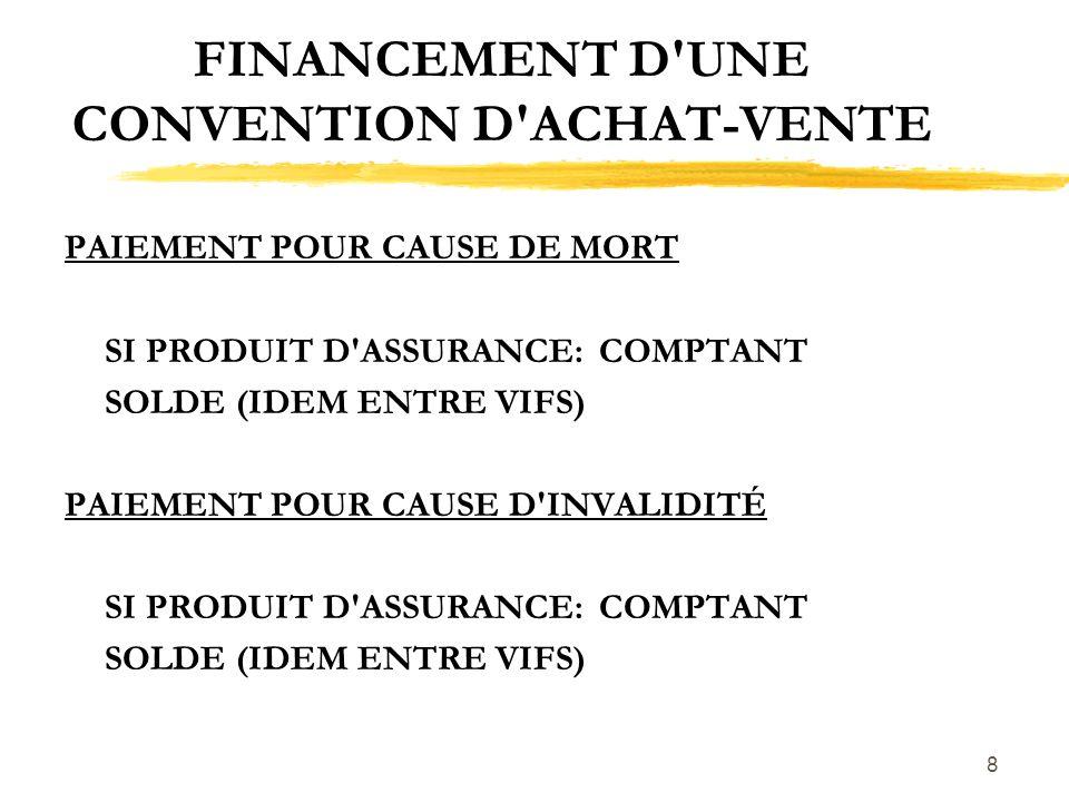 8 FINANCEMENT D'UNE CONVENTION D'ACHAT-VENTE PAIEMENT POUR CAUSE DE MORT SI PRODUIT D'ASSURANCE:COMPTANT SOLDE (IDEM ENTRE VIFS) PAIEMENT POUR CAUSE D