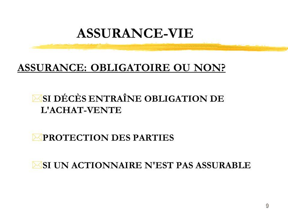 9 ASSURANCE-VIE ASSURANCE: OBLIGATOIRE OU NON? *SI DÉCÈS ENTRAÎNE OBLIGATION DE L'ACHAT-VENTE *PROTECTION DES PARTIES *SI UN ACTIONNAIRE N'EST PAS ASS