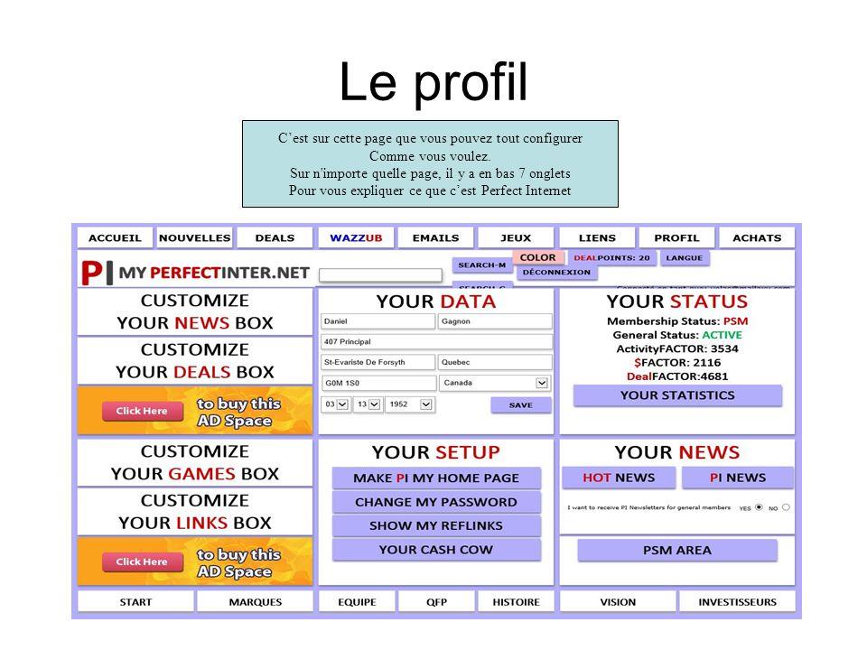 Le profil Cest sur cette page que vous pouvez tout configurer Comme vous voulez.