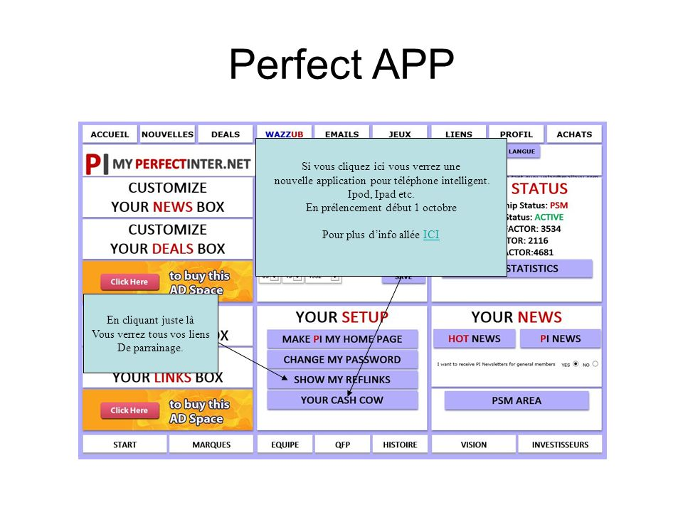 Perfect APP Si vous cliquez ici vous verrez une nouvelle application pour téléphone intelligent. Ipod, Ipad etc. En prélencement début 1 octobre Pour