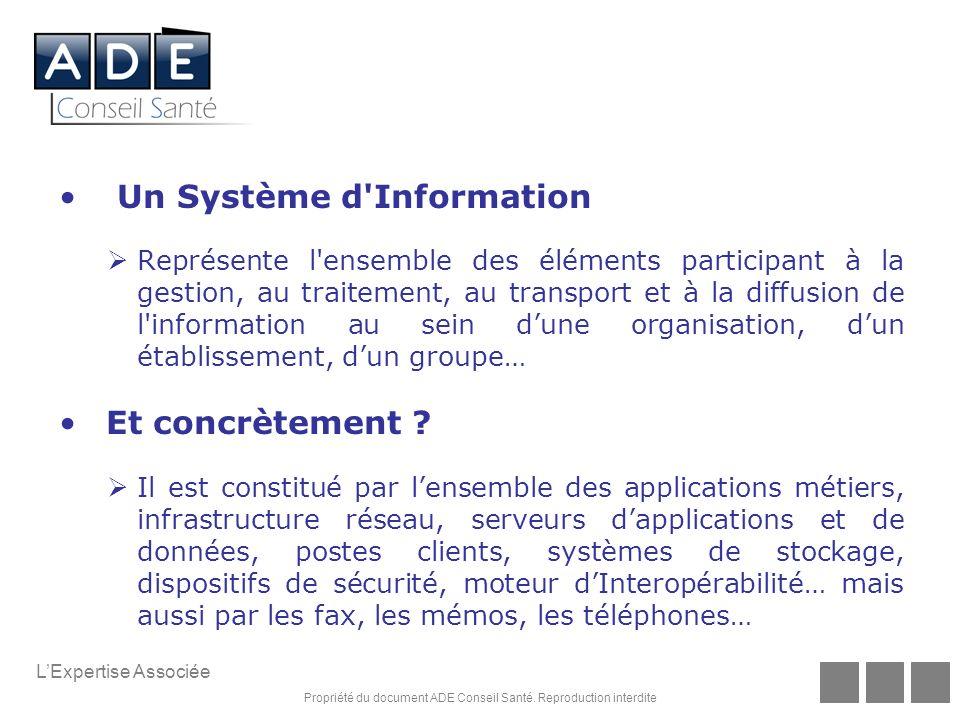 Propriété du document ADE Conseil Santé. Reproduction interdite LExpertise Associée Un Système d'Information Représente l'ensemble des éléments partic