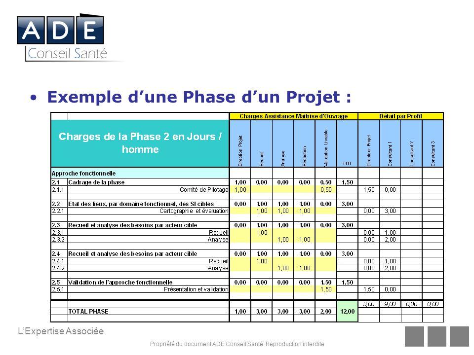 Propriété du document ADE Conseil Santé. Reproduction interdite LExpertise Associée Exemple dune Phase dun Projet :