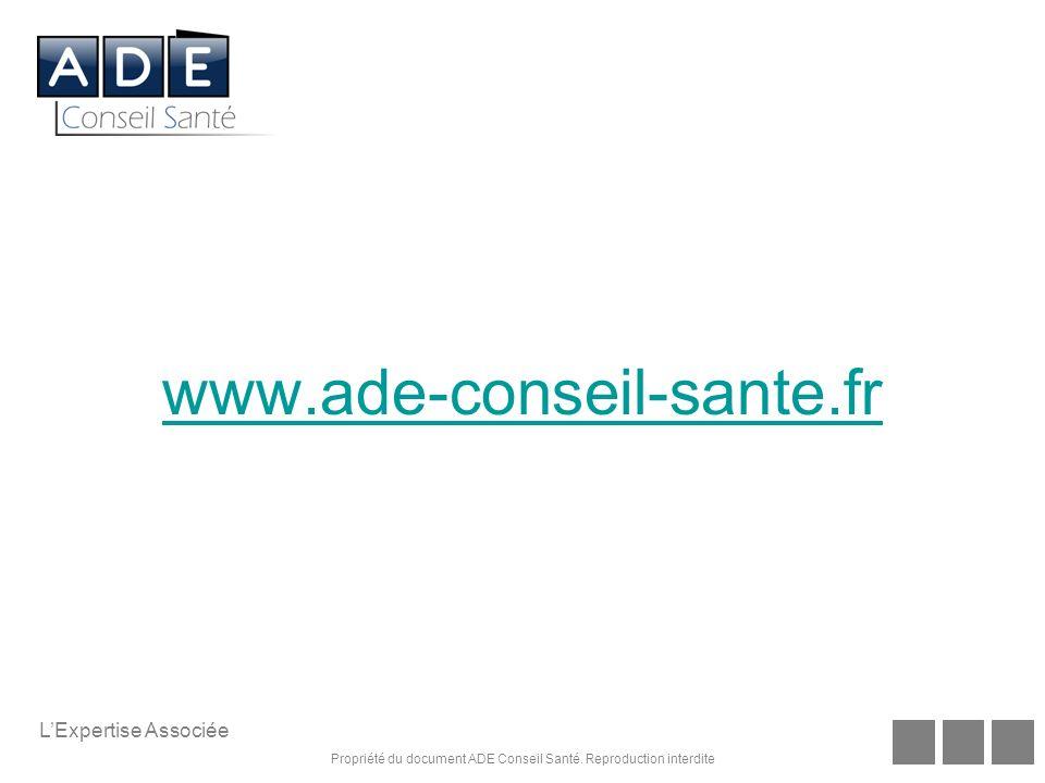 Propriété du document ADE Conseil Santé. Reproduction interdite LExpertise Associée www.ade-conseil-sante.fr