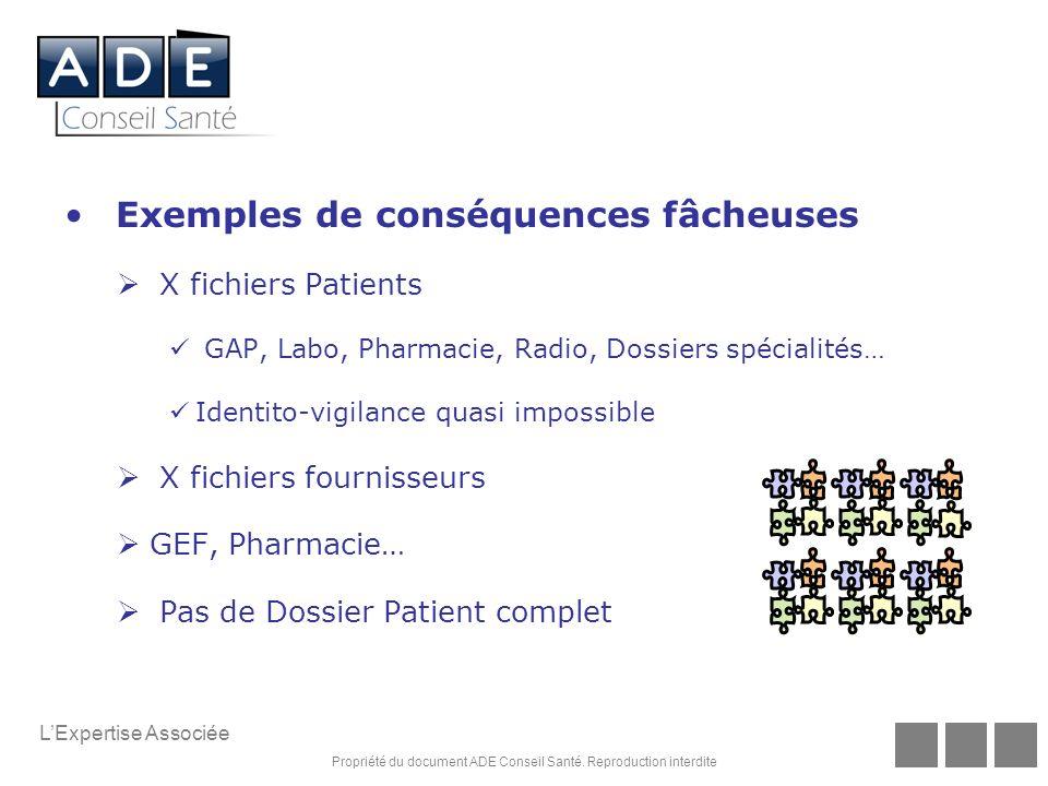 Propriété du document ADE Conseil Santé. Reproduction interdite LExpertise Associée Exemples de conséquences fâcheuses X fichiers Patients GAP, Labo,