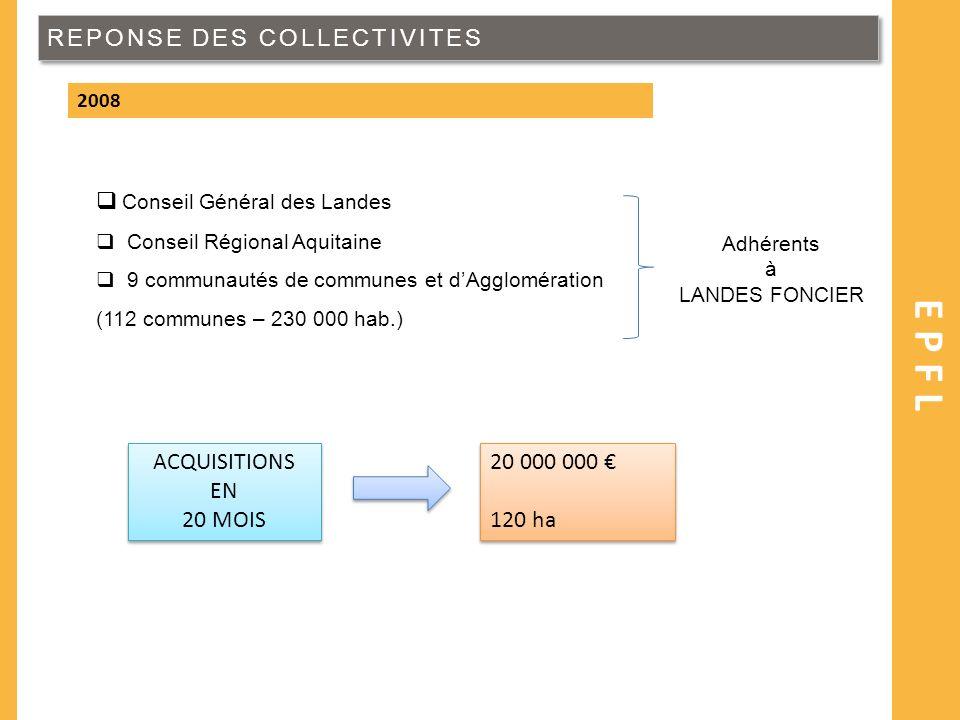 REPONSE DES COLLECTIVITES EPFL 2008 Conseil Général des Landes Conseil Régional Aquitaine 9 communautés de communes et dAgglomération (112 communes –