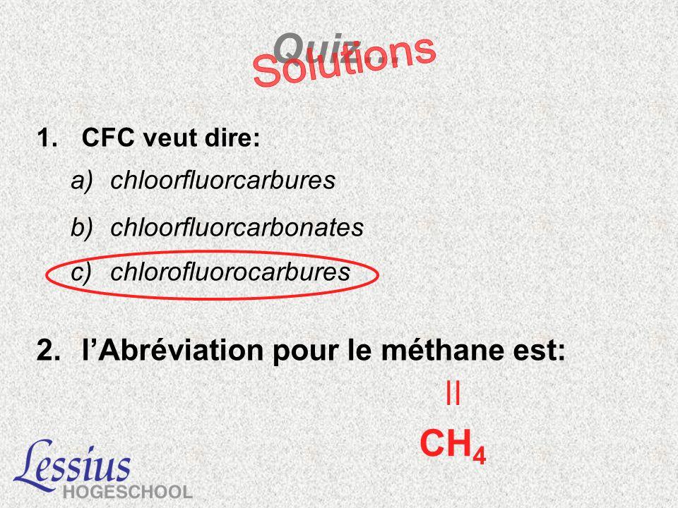 Quiz… 1.CFC veut dire: a)chloorfluorcarbures b)chloorfluorcarbonates c)chlorofluorocarbures 2.lAbréviation pour le méthane est: | CH 4