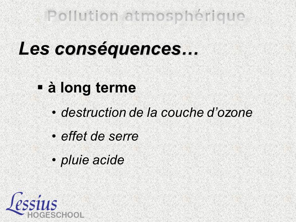 conséquences… Les conséquences… à long terme destruction de la couche dozone effet de serre pluie acide