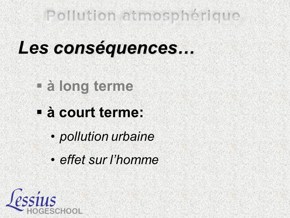 conséquences… Les conséquences… à long terme à court terme: pollution urbaine effet sur lhomme