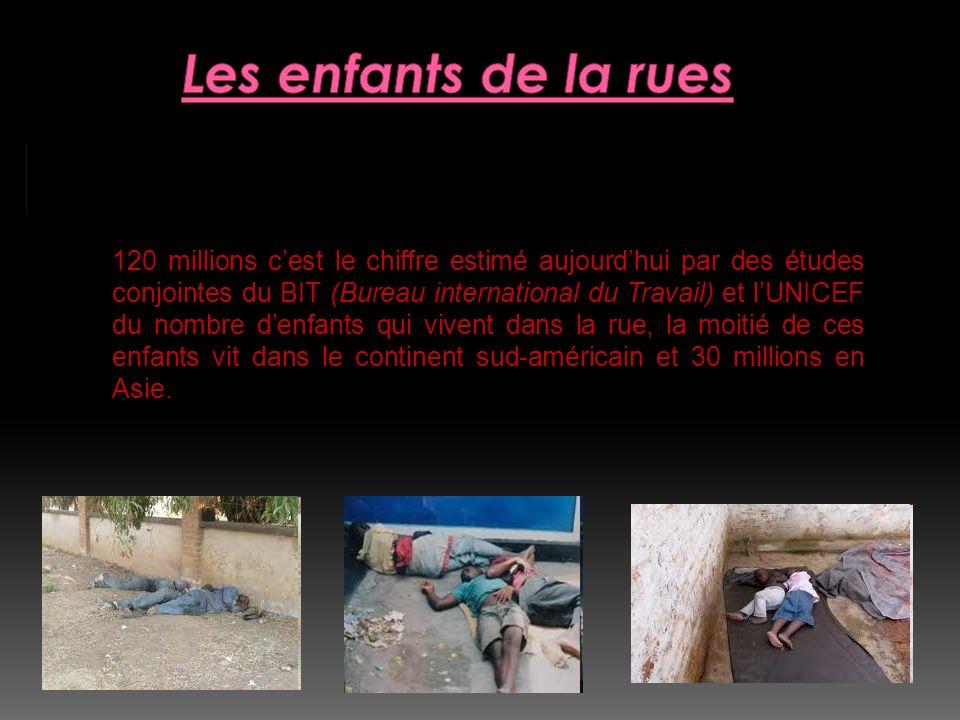 120 millions d'enfants dans la rue : 120 millions cest le chiffre estimé aujourdhui par des études conjointes du BIT (Bureau international du Travail)