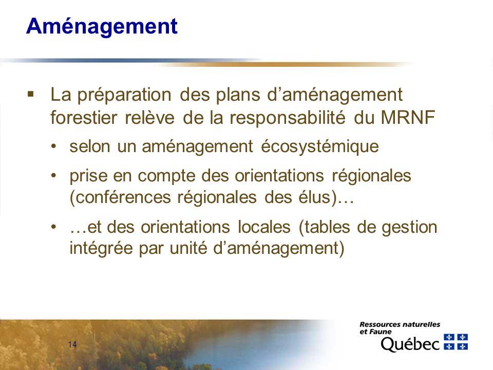 14 Aménagement La préparation des plans daménagement forestier relève de la responsabilité du MRNF selon un aménagement écosystémique prise en compte