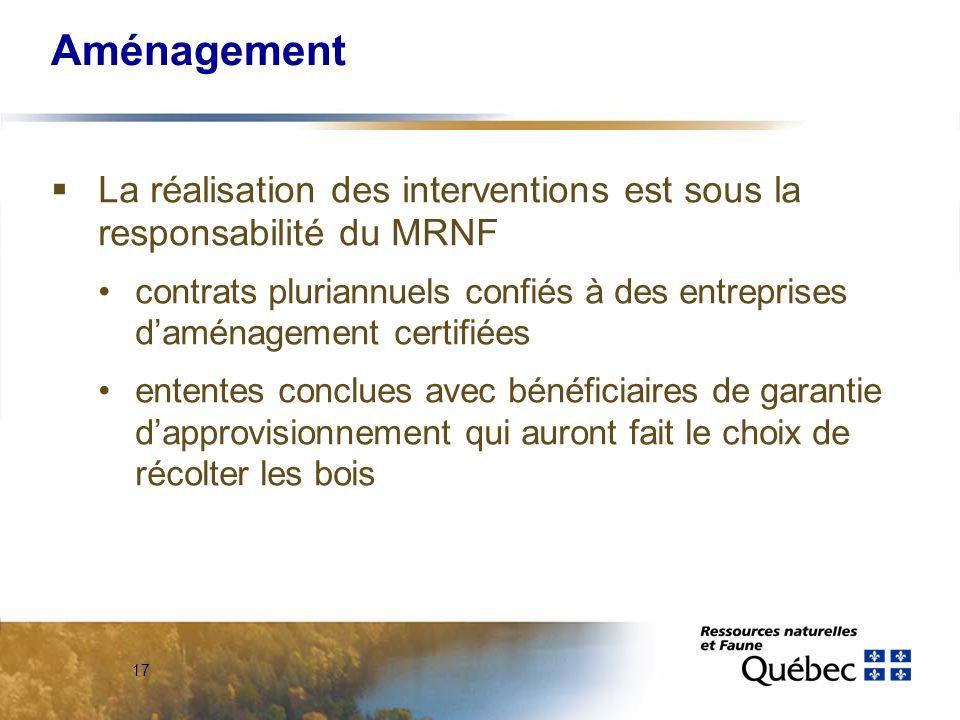 17 Aménagement La réalisation des interventions est sous la responsabilité du MRNF contrats pluriannuels confiés à des entreprises daménagement certif