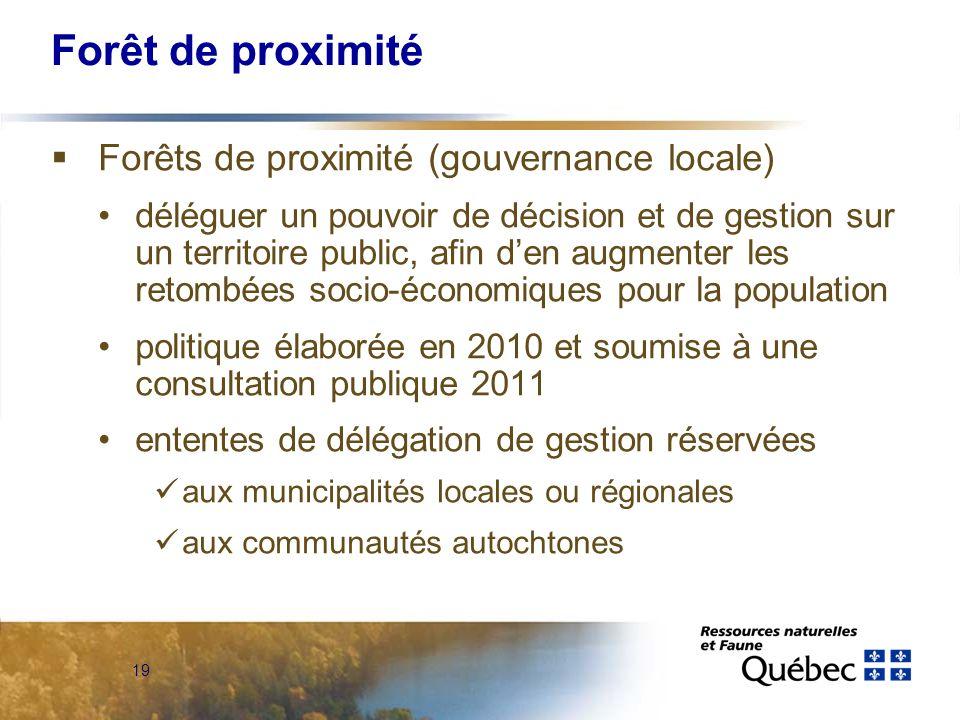 19 Forêt de proximité Forêts de proximité (gouvernance locale) déléguer un pouvoir de décision et de gestion sur un territoire public, afin den augmen