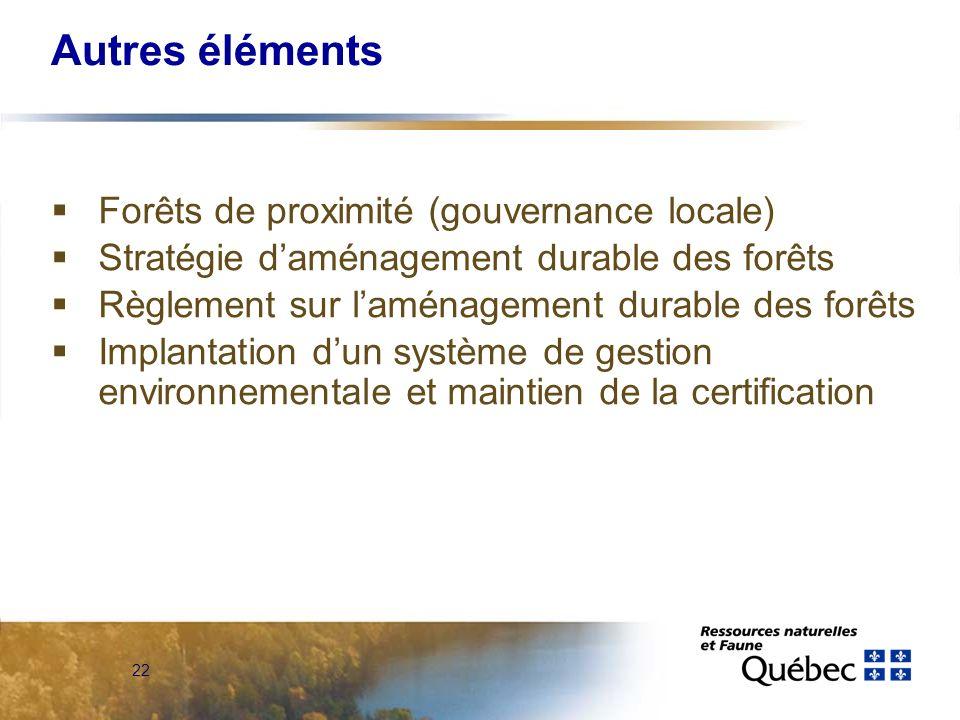 22 Autres éléments Forêts de proximité (gouvernance locale) Stratégie daménagement durable des forêts Règlement sur laménagement durable des forêts Implantation dun système de gestion environnementale et maintien de la certification