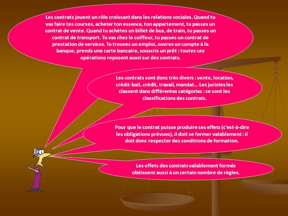 Les classifications des contrats 1.La formation des contrats 2.