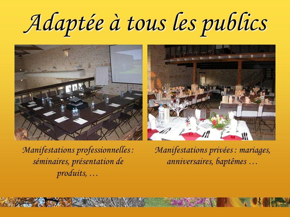 Manifestations professionnelles : séminaires, présentation de produits, … Manifestations privées : mariages, anniversaires, baptêmes … Adaptée à tous