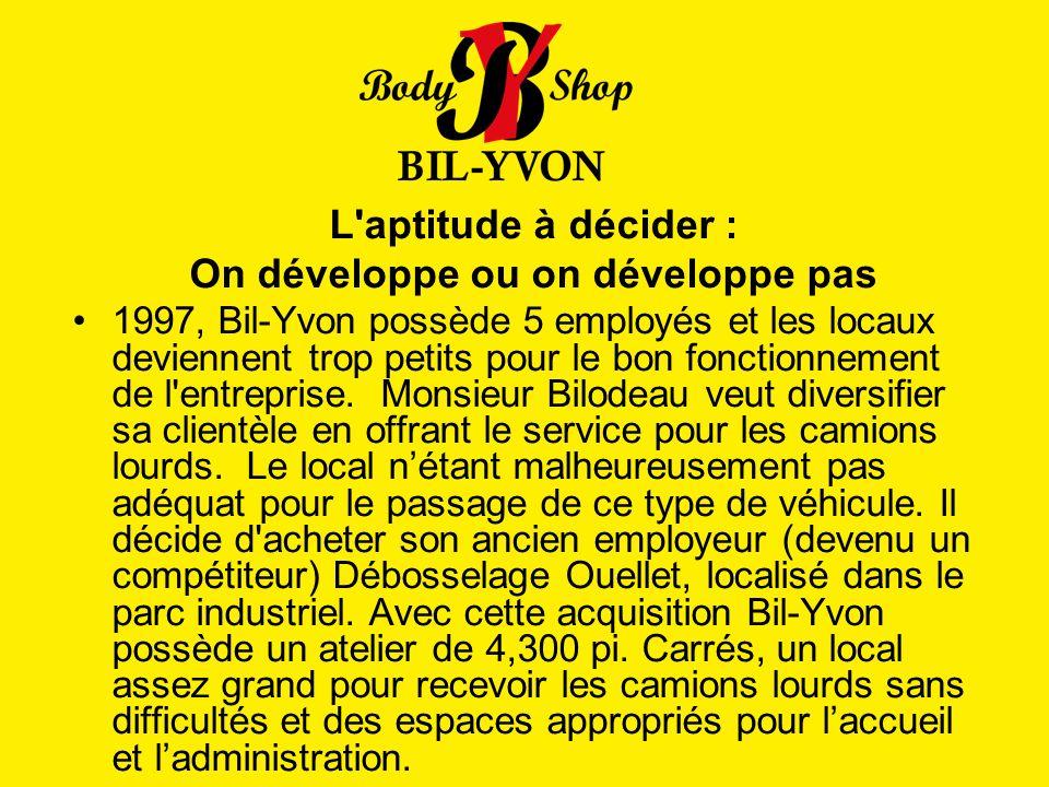 L'aptitude à décider : On développe ou on développe pas 1997, Bil-Yvon possède 5 employés et les locaux deviennent trop petits pour le bon fonctionnem