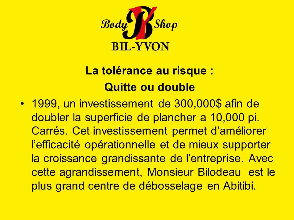 La tolérance au risque : Quitte ou double 1999, un investissement de 300,000$ afin de doubler la superficie de plancher a 10,000 pi. Carrés. Cet inves
