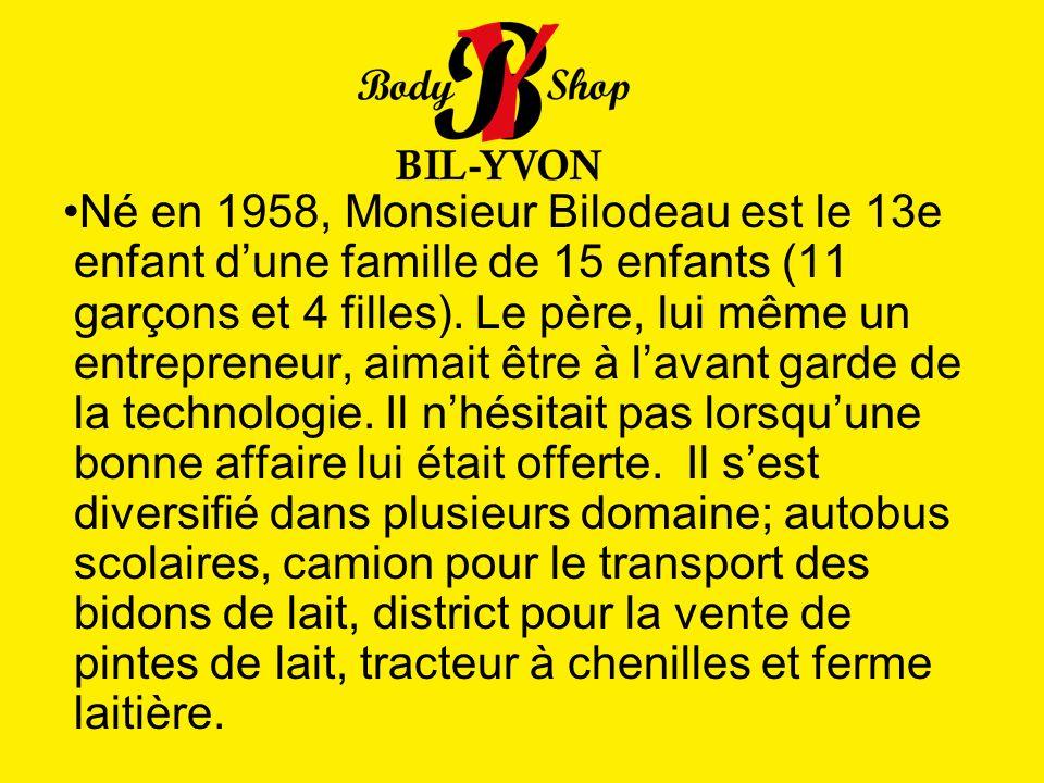 Né en 1958, Monsieur Bilodeau est le 13e enfant dune famille de 15 enfants (11 garçons et 4 filles). Le père, lui même un entrepreneur, aimait être à