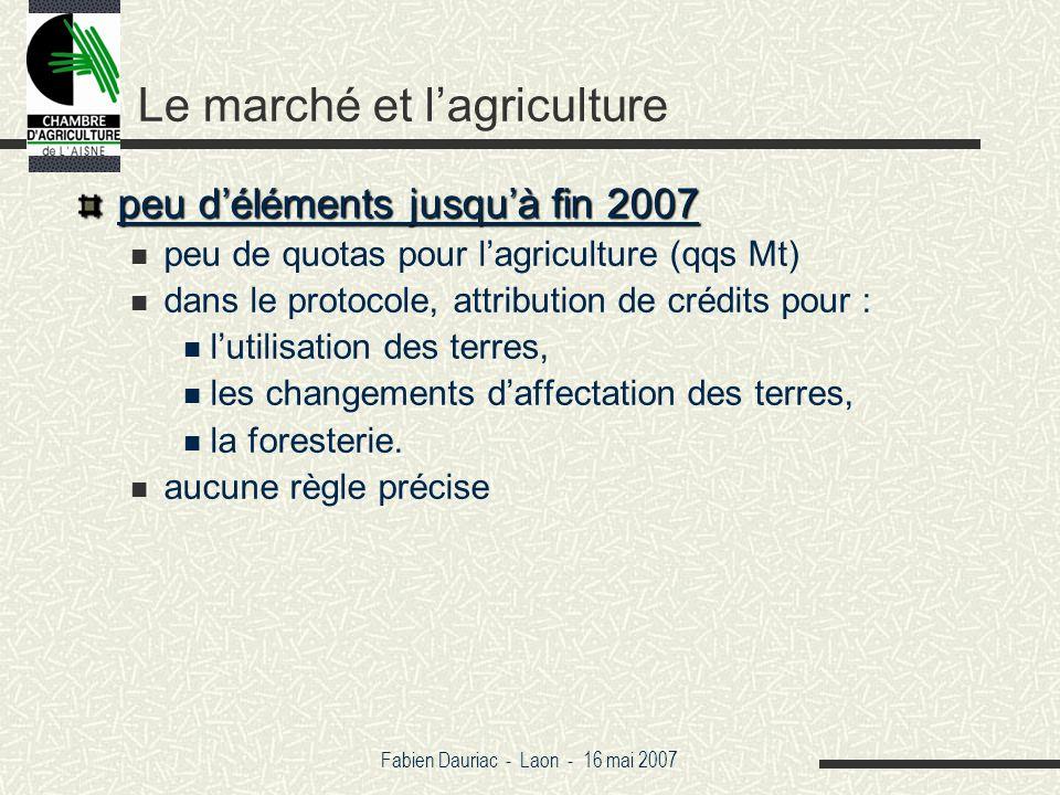 Fabien Dauriac - Laon - 16 mai 2007 Le marché et lagriculture peu déléments jusquà fin 2007 peu de quotas pour lagriculture (qqs Mt) dans le protocole, attribution de crédits pour : lutilisation des terres, les changements daffectation des terres, la foresterie.