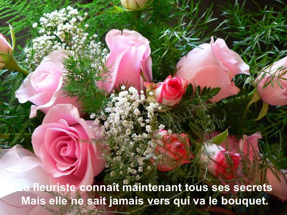 La fleuriste connaît maintenant tous ses secrets Mais elle ne sait jamais vers qui va le bouquet.